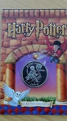 Harry Potter Isle of Man 2001 Unc Crown Coin IN Folder