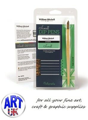 William Mitchell Calligraphy SCROLL DIP PENS nib gift set ink double line border