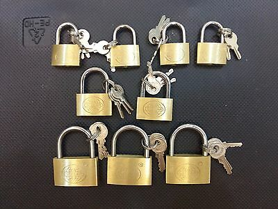 "Lot Of 9 Brass Padlock (1"",1 1/8"",1.5"") Mini Tiny Lock Box Jewelry Drawer Bag"