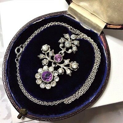 Antique SILVER Amethyst Clear Foiled Paste Articulated Necklace Fitted dome box