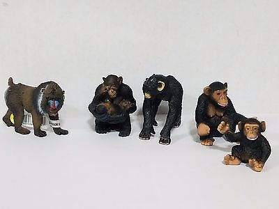 Schleich lot of 5 animals Mandrill Male 14715 and 4 Chimpanzee