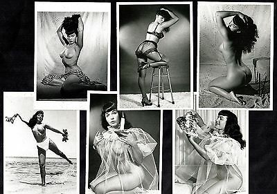 6 Glamour Postcards Bettie Page Pin-Up Girl Nylon Stockings Erotic Vintage Betty