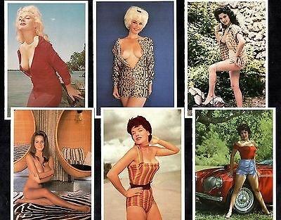6 Glamour Postcards Bunny Yeager Pin-Up Girls Erotic Fashion Nude Models Sexy