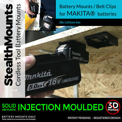 2x Black MAKITA BATTERY Mount Holder for Shelf, Rack, Stand, Holder, Slots