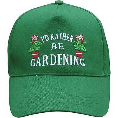 Green Baseball Cap~Rather Be Gardening~Garden~Allotment~Unisex~Free Fast Pp Uk