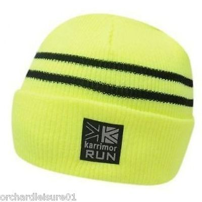 Karrimor Hi Vis Visibility Yellow Fluo Black Reflective Running Winter Hat - NEW