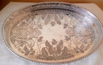 round serving Gallery Tray  silver plated EPNS