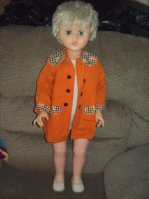 "Vintage Hard Plastic /vinyl 31"" Tall Walker Doll-Adorable-Retro 70's Outfit!"