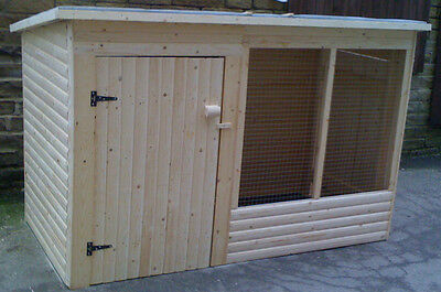 7ft WOODEN dog kennel and run