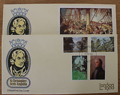 St Christopher Nevis and St Lucia 4 London 1980 FDC Rowland Hill Nelson