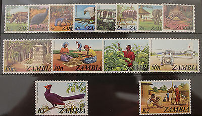 Zambia 1975 Definative Set MNH 14v Wildlife Birds Agriculture SG226-239