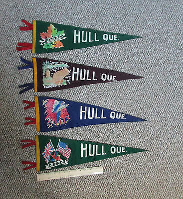 Vintage 4 Hull (now Gatineau) Quebec Canada Indian Chief Old Flag Beaver Pennant