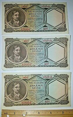 3 Greece 1000 Drachmai ND (1947) at Very Nice Condition Banknote Bills Lot
