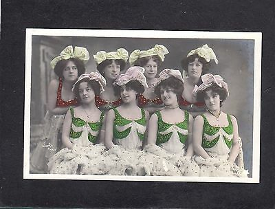 Eight unidentified actresses  France hand coloured postcard