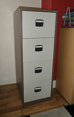 """Filling Cabinet, Brown & Beige, 4 Drawer, 52"""" / 132cm Tall, with Hanging Files"""