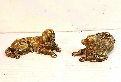 "Pair Of Antique Solid Cast Brass Dog Figurines 5.5"" Long"