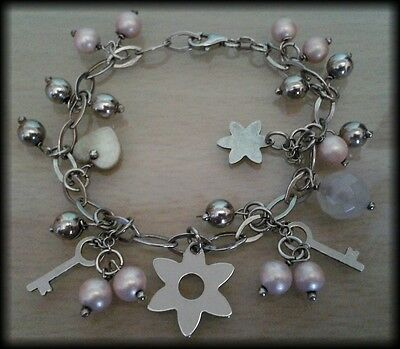 Vintage Pearl and 925 Solid Sterling Silver Key and Flower Charm Bracelet