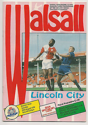 Walsall v Lincoln City programme 20/8/1994
