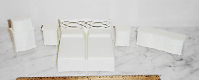5pc 1950s Vintage Doll House Miniature MPC ~ White Bedroom Set