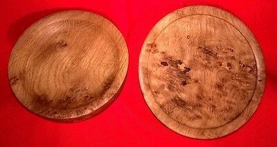 (J64) Two Lathe Turned Small Platters-Handcrafted In Bicester-Made In Burr Oak