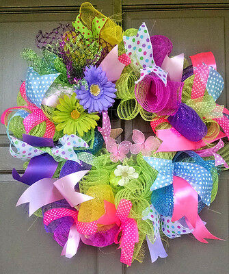 Handmade Deco Mesh Spring Easter Butterfly Daisy Floral Ribbon Wreath Door Decor