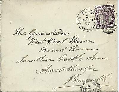 GB 1893 1d Lilac Cover with Shap Westmoreland B59 Duplex to Penrith