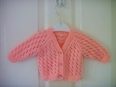 Peach Hand Knitted Baby Cardigan