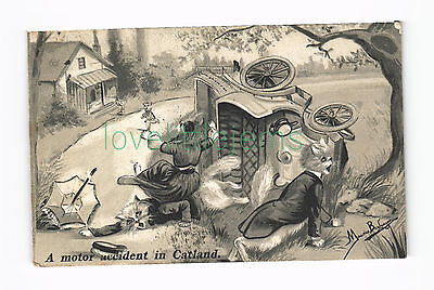 c1905 Maurice Boulanger Early Motoring Crash Comic HM & Co In Catland series 104