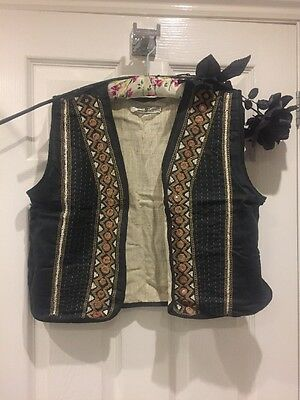 Vintage Waistcoat 100% Cotton Hand Made India Embroidered Hippy Folk Festival
