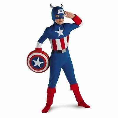 MARVEL CAPTAIN AMERICA ORIGINAL CHILD COSTUME Halloween Cosplay Fancy Dress Up
