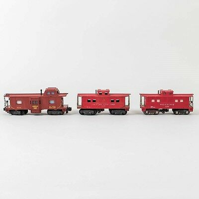 Lot of 3 American Flyer S-Gauge Train Caboose Cars 630, 938, 935 Red