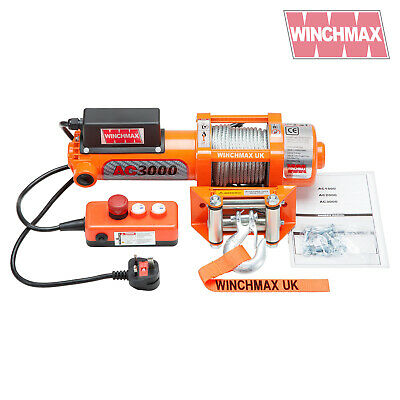 WINCH 240V 13A Single Phase 3000lb Genuine WINCHMAX Brand 24 Month Warranty