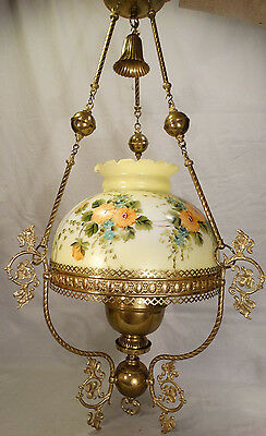 Antique VICTORIAN Style FLOWER PAINTING on GLASS Shade CHANDELIER Old OIL LAMP