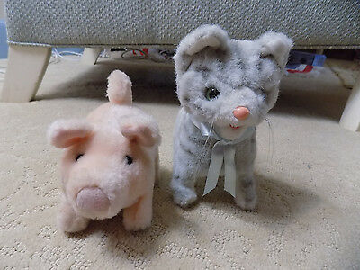 Lot Plush PINK BATTERY Operated WALKING OINKING PIG & KITTEN cat novelty toys  6