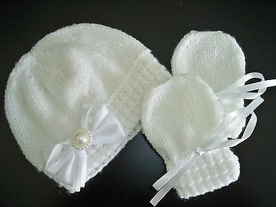 Hand Knitted Baby Girl's White Shimmer  Beanie Hat and Mittens  0- 3 mths