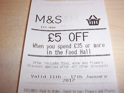 M&s £5 Off Voucher Spend £35 11 - 17 Jan Food Hall Wine Flowers Marks Spencer