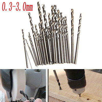 28Pcs Mini Micro HSS Twist Drill Bits Set Metric Sizes 0.3-3.0mm For PCB Crafts