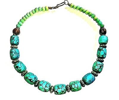 Rare Auth Old Tibetan Turquoise Necklace