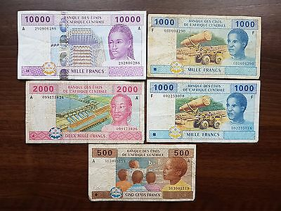 Central African States 14500 francs 2002 lot banknote