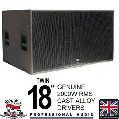 "Twin 18 Inch Sub woofer Dual 18"" Speakers 2000w RMS PA System DJ Club Bass"