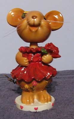 "VINTAGE BOBBLEHEAD NODDER MOUSE FIGURINE W/ FLOWERS 5.5"" Tall"