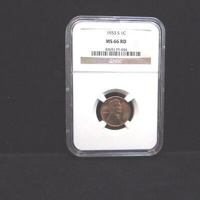 1953-S 1c Lincoln Wheat Cent NGC MS66RD