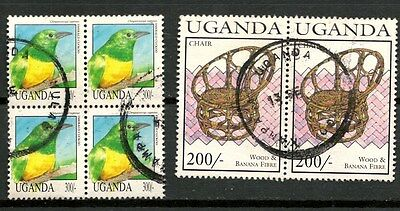 Uganda, Lot Of 2 Old Blocks Of Used Stamps, Birds & Chair -Cag 280215