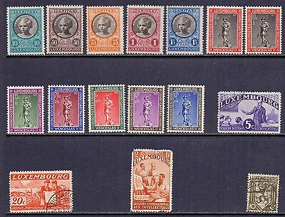 Luxembourg. 12 H mint and 4 used stamps. Issued 1927/37.