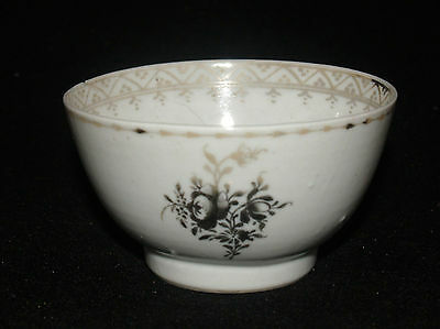ANTIQUE 18th CENTURY CHINESE EXPORT PORCELAIN HANDLELESS CUP BLACK ROSE -WORN