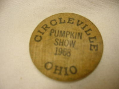 Vintage Souvenir Wooden Nickel from Circleville Ohio Pumpkin Show 1968
