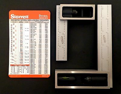 "Lot 4"" and 6"" Igaging 4R 8/16/32/64ths Double Machinist Squares + Starrett Card"
