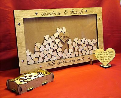 Personalised Wooden Wedding Drop Box Hearts Guest Book Alternative za1