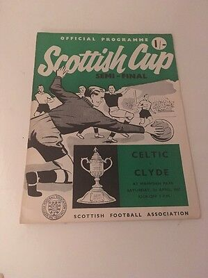 SCOTTISH CUP SEMI FINAL CELTIC v CLYDE Football Programme 1st April 1967