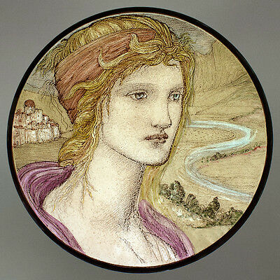 Burne Jones female portrait stained glass fragment, preraphaelites, kiln fired